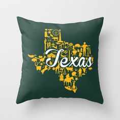 Baylor - Texas Landmark State - Green and Gold Texas Baylor Theme Throw Pillow by Painted Post