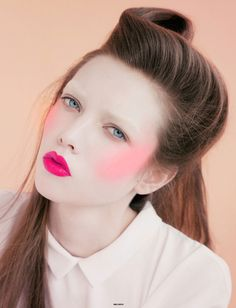 Fuchsia lips, neon blush and a modern take on the victory roll #hair