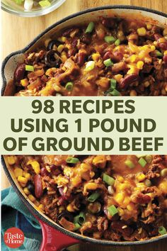 98 Recipes Using 1 Pound Of Ground Beef Spice it up and try one of our versatile recipes tonight. - 98 Recipes Using 1 Pound Of Ground Beef Ground Beef Dishes, Ground Beef Recipes For Dinner, Dinner With Ground Beef, Quick Ground Beef Recipes, Easy Ground Beef Meals, Meals To Make With Ground Beef, Hamburger Meat Dishes, Hamburger Meat Recipes Ground, Recipes Using Hamburger
