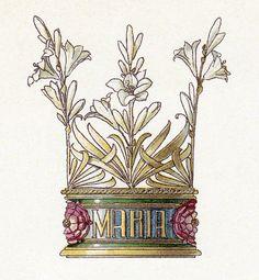 Easter Lilies Fabric Block Repro Anton Seder Crown No. 2 Maria