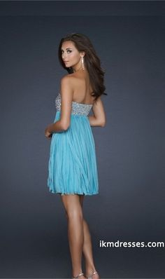 3f8d6bbde7c A-line Sweetheart Short Mini Chiffon Blue Homecoming Dresses Pretty Prom  Dresses