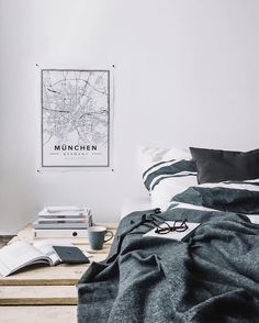 Map poster of Münich, Germany. Print size 50 x 70 cm. Custom black and white map posters online. Mapiful.com.