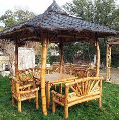 Salon de jardin ROBINSON en bambou : canapé 2 places, 2 fauteuils ...