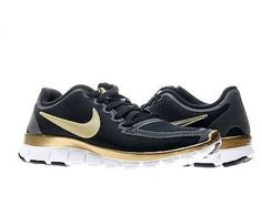 f4c73fbf87afa Nike Free Run Black Metallic Gold-White Womens Running Shoes