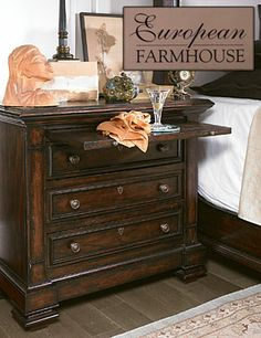 The European Farmhouse Brittany Bachelors Chest enhances your bedroom with compact storage and a warm and welcoming rustic style. Farmhouse Furniture, Bedroom Furniture, Furniture Design, Bedroom Decor, Dream Bedroom, Master Bedroom, Bachelors Chest, Stanley Furniture, Dresser As Nightstand