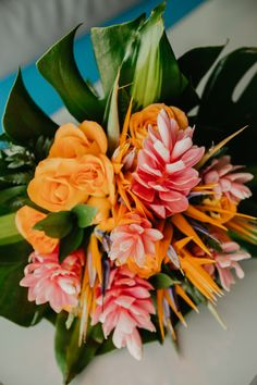 A gorgeous tropical bouquet for a Mexico destination wedding! Destination Wedding Inspiration, Destination Wedding Photographer, Cancun Mexico, Wedding Vows, Newlyweds, Unique Weddings, Wedding Details, Things That Bounce, Bouquet