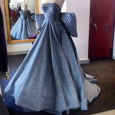 Dior inspired evening gown made of different Izishweshwe fabrics, the dress is on temporary exhibition at the Iziko Museum Cape Town in the Slave Lodge until December 2014.