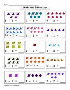 Free Math Worksheets, Subtraction Differences 0-10, Horizontal - 19,000+ FREE Worksheets Fun Worksheets For Kids, 2nd Grade Math Worksheets, Math For Kids, Free Worksheets, Math Exercises, Art For Kids Hub, Kids Homework, Subtraction Worksheets, Jolly Phonics