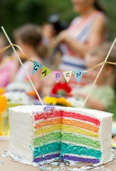 colorful birthday cake 6 layer