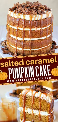 Learn how to make this moist and flavorful pumpkin cake from scratch! This recipe is perfect for holiday entertaining. Dressed with layers of salted caramel frosting, candied pecans, and even more caramel, this impressive Thanksgiving dessert would be epic on your table! Pumpkin Cake Recipes, Fall Dessert Recipes, Easy No Bake Desserts, Köstliche Desserts, Pumpkin Dessert, Pumpkin Funnel Cake Recipe, Pumkin Cake, Salted Caramel Desserts, Salted Caramel Frosting