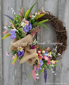 Easter Wreath Spring Wreath Easter Bunny by NewEnglandWreath