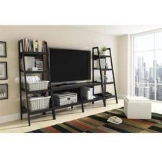 Ladder TV Stand and Bookcase 3 Piece Entertainment Center Bundle for TVs up to 65;, Black