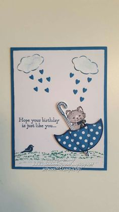 Kids Birthday Cards, Handmade Birthday Cards, Card Birthday, Pretty Kitty, Pretty Cats, Dog Cards, Kids Cards, Umbrella Cards, Poinsettia Cards
