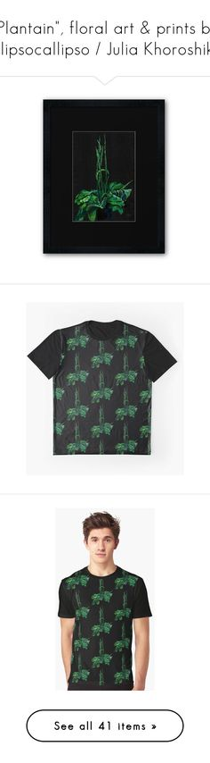 """""""""""Plantain"""", floral art & prints by Clipsocallipso / Julia Khoroshikh"""" by clipso-callipso ❤ liked on Polyvore featuring tops, natural, weed, green floral top, relaxed fit tops, v-neck tops, summer tops, flower print tops, green v neck top and floral print tops"""