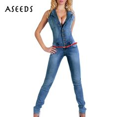 c1fab2b6441b 2017 Autumn Denim bodycon rompers womens jumpsuit Casual sleeveless High  Waist jeans Overalls Pocket playsuits combinaison femme-in Jumpsuits from  Women s ...