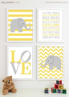 Baby Boy Nursery Art Chevron Elephant Nursery Prints, Kids Wall Art Baby Boys Room, Baby Nursery Decor Playroom Rules Quote Art - Four 8x10