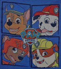 Paw Patrol Crochet Pattern Oh my! Crochet Pixel, Graph Crochet, Crochet Patterns, Paw Patrol, Afghan Patterns, Stitch Patterns, Cross Stitching, Cross Stitch Embroidery, Baby Motiv