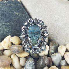 Labradorite Skull Ring, Carved Skull Ring, Labradorite Ring, Sterling Silver Ring by MandanaStudios on Etsy