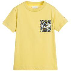 Fendi Boys Yellow Cotton T-Shirt at Childrensalon.com