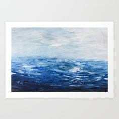 Paint 10 abstract water ocean seascape modern painting dorm room decor affordable stretched canvas by Prelude Posters