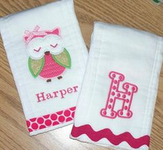 Owl Monogrammed Baby Girl Burp Cloth Set  by LittleTexasBabes, $20.00