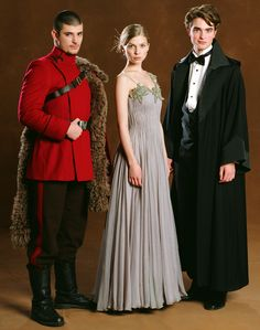 Stanislav Ianevski, Clemence Posey, and Robert Pattinson as Viktor Krum, Fleur Delacour, and Cedric Diggory in Harry Potter and the Goblet of Fire Harry Potter World, Images Harry Potter, Harry Potter Goblet, Mundo Harry Potter, Harry Potter Characters, Harry Potter Fandom, Clemence Poesy Harry Potter, Fleur Delacour, Harry Potter Cocktails