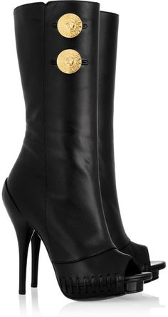 VERSACE Nappa Leather Peep-toe Boots