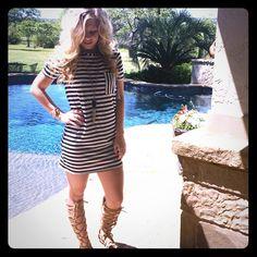 Atid Striped Tshirt Dress Jersey Striped Short Sleeve Dress. Contrast stripe chest pocket & neckline. Super cute. Super comfy. 94% rayon 6% spandex  trades ✅retail price is firm Atid Clothing Dresses Mini