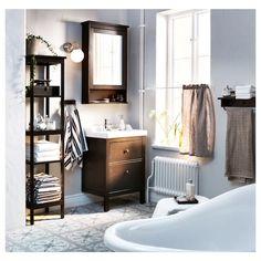 HEMNES Mirror cabinet with 1 door, black-brown stain, cm - IKEA Ikea Bathroom, Boho Bathroom, Bathroom Furniture, Wash Stand, Mirror Cabinets, Bathroom Cabinets, Bathroom Shelves, Thing 1, Drawer Fronts