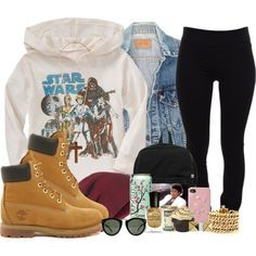 Star wars, with Timberland boots Tims Outfits, Dope Outfits, Swag Outfits, Fashion Outfits, Womens Fashion, Fall Fashion, School Outfits, Teen Fashion, Fashion 2017