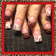 red and leopard circles - Nail Art Gallery