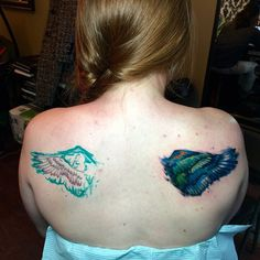 """101 Likes, 2 Comments - @laurabochet_tattoo on Instagram: """"Freehand wing rework/coverup from the other day. I'm looking forward to doing the other side! #art…"""""""