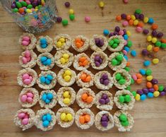 easter egg rice krispy nests..I do fun stuff with the kids, and this one would be very simple and fun