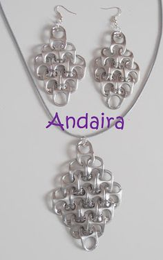 How to Make Pop Tabs Necklace & Earrings? These necklace and earrings look super cute and is really easy to make. Do not throw away your used Soda Can as you can make Jewelry, Bracelets and etc. Soda Tab Crafts, Can Tab Crafts, Aluminum Can Crafts, Bottle Cap Crafts, Recycled Jewelry, Recycled Crafts, Diy Crafts, Recycled Materials, Pop Top Crafts