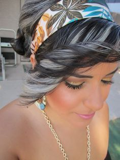 black lowlight stripes on curly silver hair - Google Search
