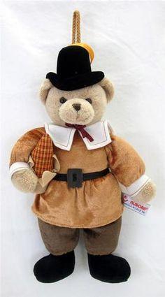 "Thanksgiving 14"" Aurora Plush Pilgrim Door Decor Teddy Bear Stuffed Animal Toy"