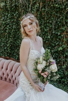 Pearl and stone beaded bridal dress siren shape with train, and headpiece by La Creme St. Relaxed boho bridal braid by Rachel Jones BPretty Make-up & Hair Stylist. Rachel Jones, Bridal Braids, Wedding Shoot, Stone Beads, Ontario, Headpiece, Creme, Bridal Dresses, Hair Makeup