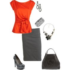 """Orange and Gray"" by ds-thomas on Polyvore"