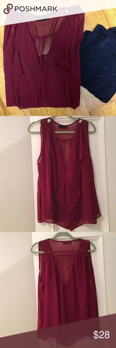 Maroon Party Top Flattering, sheer maroon blouse. Great for any occasion. Fits true to size, one of my favorite tops! Urban Outfitters Tops Blouses
