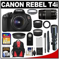 Canon EOS Rebel T4i Digital SLR Camera Body & EF-S 18-55mm IS II Lens + 75-300mm III & 500mm Telephoto Lens + 32GB Card + Monopod + Battery + Backpack + Filters + Remote + Telephoto & Wide-Angle Lenses + Accessory Kit by Canon. $1149.95. Kit includes:♦ 1) Canon EOS Rebel T4i Digital SLR Camera Body & EF-S 18-55mm IS II Lens♦ 2) Canon EF 75-300mm III Zoom Lens♦ 3) Samyang 500mm f/8.0 Telephoto Lens (T Mount)♦ 4) Transcend 32GB SecureDigital Class 10 (SDHC) Car...