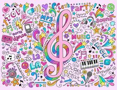 Music Clef Groovy Psychedelic Doodles Hand Drawn Notebook Doodle Design Stock Vector - 16693317