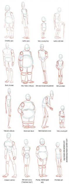 Anatomy Drawing Reference Body Shapes by Expression - Drawing Body Poses, Drawing Reference Poses, Anatomy Reference, Design Reference, Drawing Body Proportions, Human Body Drawing, Human Body Art, Human Head, Proportion In Art