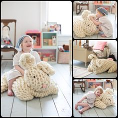 Adorable Over-sized Arm Knit Bunny with Free Pattern