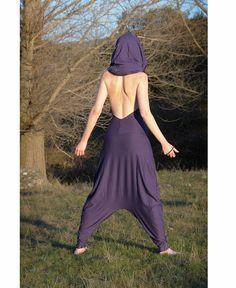 Harem jumpsuit yoga romper hooded Romper flodderige