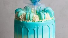 Blue Watercolour Cake with Blue Macarons- Rosie's Dessert Spot American Buttercream Recipe, Ganache Recipe, Watercolor Cake, Mud Cake, Personalized Cake Toppers, Chocolate Butter, Macaron Recipe, Cake Decorating Tutorials, Drip Cakes