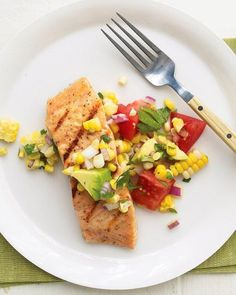 """Salmon with Sweet Corn, Tomato, and Avocado Relish"" in our Beyond Smashing: Avocado Recipes for Every Meal gallery Shellfish Recipes, Seafood Recipes, Dinner Recipes, Dinner Ideas, Dinner Entrees, Meal Ideas, Avocado Recipes, Salmon Recipes, Healthy Recipes"