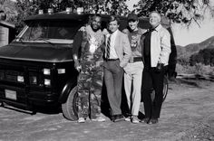 TEAM -- 'Waiting for Insane Wayne' Episode 17 -- Pictured: (l-r) Mr. Baracus, Dirk Benedict as Templeton 'Faceman' Peck, Dwight Schultz as 'Howling Mad' Murdock, George Peppard as John 'Hannibal' Smith -- Photo by: NBCU Photo Bank Dwight Schultz, George Peppard, The A Team, Team S, Breaking Bad, A Team Van, Show Photos, Cool Trucks, Stock Pictures