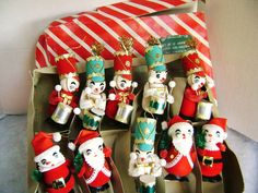 Lot of 10 Vintage Spun Cotton Christmas Figurals by junquegypsy