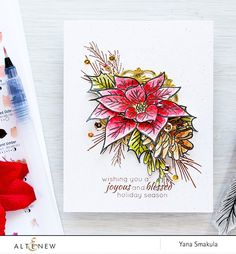 Give your holiday projects an artistic flair using the large poinsettia and pine cone image in this stamp set. It's a must-have in your floral stamp collection! Stamped Christmas Cards, Christmas Cards To Make, Xmas Cards, Handmade Christmas, Holiday Cards, Chrismas Cards, Greeting Cards, Zentangle, Poinsettia Cards