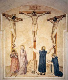 Crucificcion con santo Domingo y santo Tomas de Aquino - Fra Angelico- WikiPaintings.org